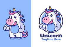 Unicorn Thumbs Up Mascot Logo Design Product Image 1
