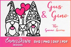 GUS & GINO THE GNOME LOVERS SVG VALENTINES DAY MANDALA Product Image 1