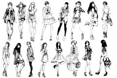 50 fashion pretty girls vector Product Image 2
