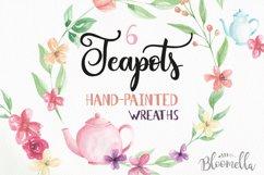 Watercolor Teapot Flower Wreath Floral Clipart Set Product Image 4