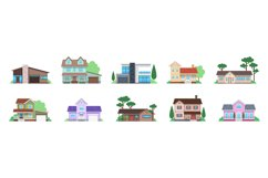 Cottage houses. Front view modern suburban home, townhomes a Product Image 1