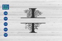 Split monogram letter I Svg, Alphabet floral initial logo I Product Image 1