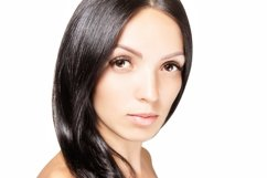 Woman with dark hair and long eyelashes, beauty portrait Product Image 1