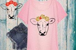 Cow with Flowers SVG, Bandanna Flower , Heifer SVG -74SV Product Image 1