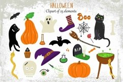 Halloween clip art with cute handdrawn elements. Product Image 1