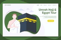 Hajj and Umrah Landing Page Flat Design Vector Product Image 1