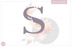 Letter S Floral MONOGRAM - elegant flower initial Product Image 2