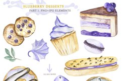 Watercolor collection of Blueberry Desserts Product Image 2