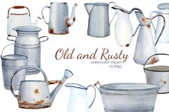 Watercolor Rustic Farmhouse Clipart. Vintage French country Product Image 1
