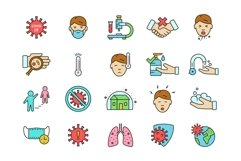 Coronavirus icons set, colored and outline style Product Image 3