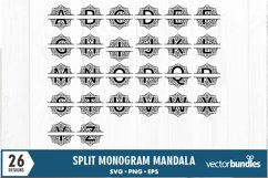 Monogram svg mandala split letter alphabet designs Product Image 2