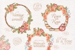 Watercolor wreaths set. Roses & keys Product Image 2