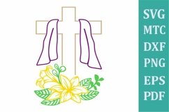 Easter Religion Cross # 01 with Lilly Flower Outline SVG Cut Product Image 1