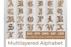 Layered Alphabet -5 layers -SteamPunk Alphabet -laser cut Product Image 1