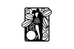 Papercut Wedding Couple with Butterfly Wings, Invitation Art Product Image 6