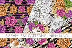 Halloween Flowers Seamless Patterns, Roses Digital Papers Product Image 4
