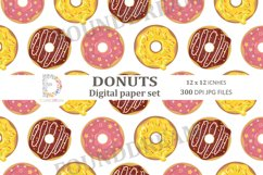 Donuts Digital Papers  12 x 12 inches 300DPI JPG files Product Image 7