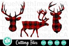 Reindeer SVG   Deer SVG   Buffalo Plaid SVG Product Image 1