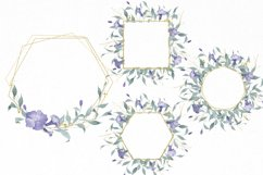 Watercolor Flowers Wreaths Gold Frames Wedding Wildflowers Product Image 4