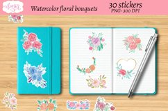 Watercolor floral bouquets stickers, print then cut sticker Product Image 4