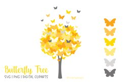 Butterfly Tree PNG SVG in Yellow and Grey Product Image 1