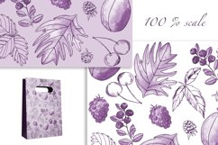 Elegant Berry Patterns. Watercolor and line art, JPG, PNG Product Image 5