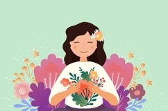 Smiling woman with flowers. Mother's day card Product Image 1