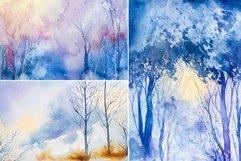 Winter Landscapes set#3. Watercolor. Product Image 4