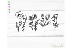 Wildflowers svg, Botanical svg, wildflower cut file Product Image 2