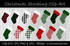 Christmas Stocking Buffalo Check Clip Art Product Image 1