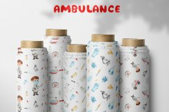 Watercolor Ambulance. Clipart, cards, seamless patterns Product Image 7