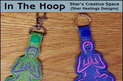 ITH Yoga Vinyl Key Fob or Bag Tag - Snap Tab Machine Embroidery Product Image 1