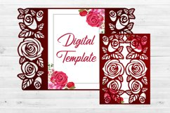 Roses wedding invitation template, Svg files for cricut Product Image 2