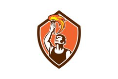 Athlete Player Raising Flaming Torch Shield Retro Product Image 1