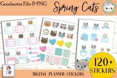 Spring Cats Digital Printable Labels Stickers Goodnotes Product Image 3