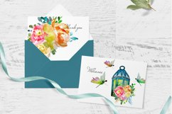 lantern with floral clipart Watercolor for design invite Product Image 3