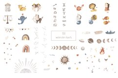 Zodiac signs clipart. Watercolor astrology clip art for kids Product Image 2