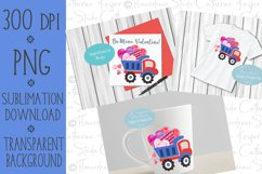 Valentines Day, Red and Blue Dump Truck, Boy, Watercolor PNG Product Image 2