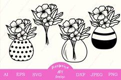 Mason jar with flower bouquet svg cut, Floral clip art dxf Product Image 1