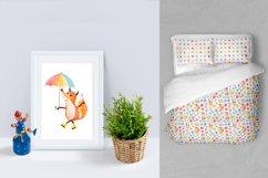 Happy fox watercolor clip art Product Image 6