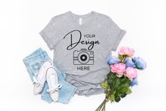 Bella Canvas Mockup 3001 Athletic Heather Grey T-shirt Product Image 1