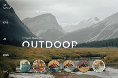 Outdoor Travel. Set of twelve colorful round logos. Product Image 2