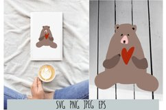 Valentines Day card. Bear and heart SVG Product Image 1