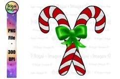 Candy Canes with Bow PNG, Christmas Holiday Sublimation Product Image 1