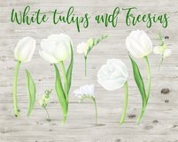 Watercolor white flowers arrangements. Tulips and Freesias. Product Image 2