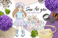 SEW FOR YOU Color Vector Illustration Set Product Image 1