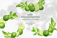 Watercolor Lime Arrangements clip art set Product Image 1