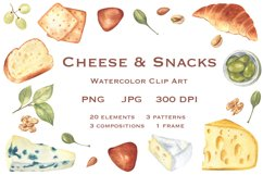 Cheese and Snacks. Watercolor clipart, patterns. JPG, PNG Product Image 1