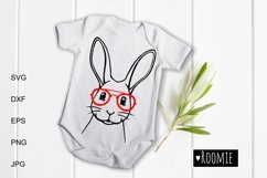 Rabbit face in glasses svg, Easter bunny Cut files Cricut Product Image 1