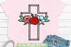 Happy Easter svg, Floral Cross svg, Jesus svg, Cricut File Product Image 1